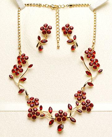 《赤いカラー石のネックレス》