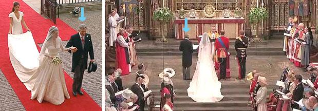 《英ロイヤルウェディングでは新婦の父親は左側》